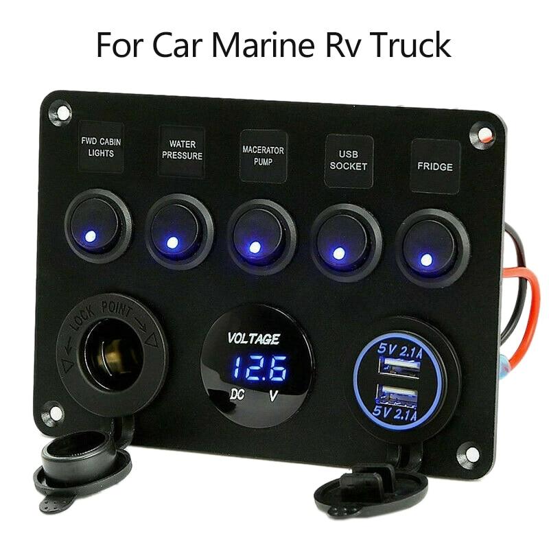 5 gang carro barco marinho led rocker switch painel de circuito à prova dwaterproof água voltímetro digital dupla porta usb 12 v tomada para carro marinho rv