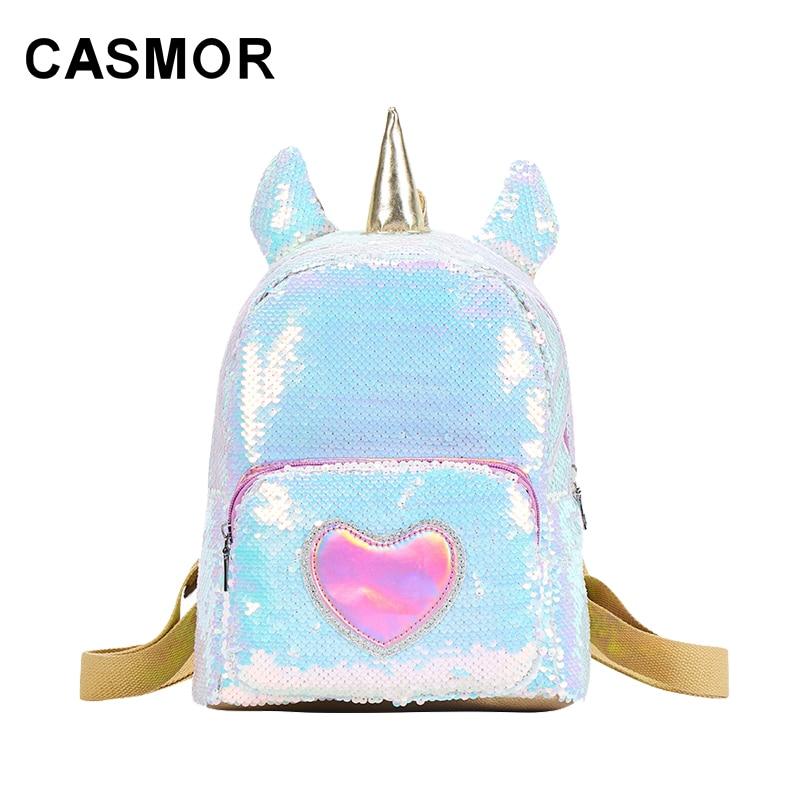 CASMOR INS bolso de moda con lentejuelas mochila creativa personalidad unicornio mochila mujer chica libro bolsa de viaje mochila monedero