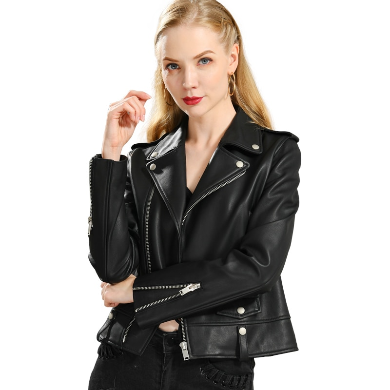 Spring Genuine Leather Jacket Women 2019 Fashion Real Sheepskin Coat Rivet Motorcycle Biker Jacket F
