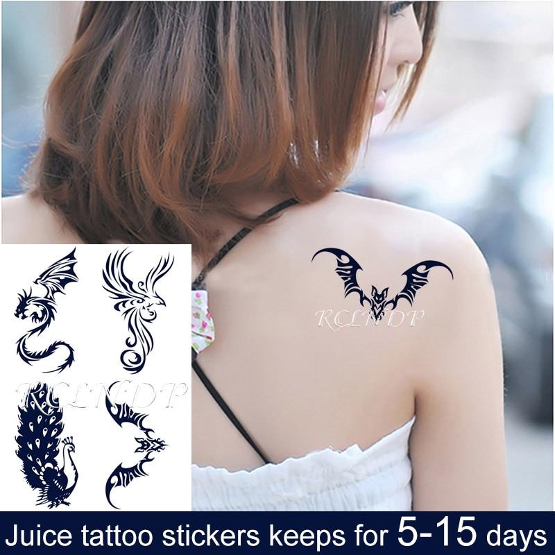 À prova dwaterproof água suco temporário tinta adesivo dragão phoenix pavão tatto frutas gel longa duração tatuagem arte para homem