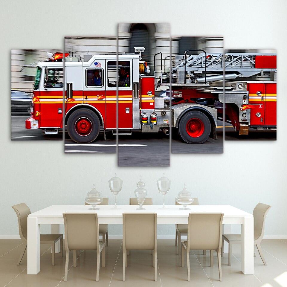 Lienzo cartel Modular moderno HD impreso coche cuadros 5 piezas fuego motor pintura para sala de estar hogar Decoración pared arte marco