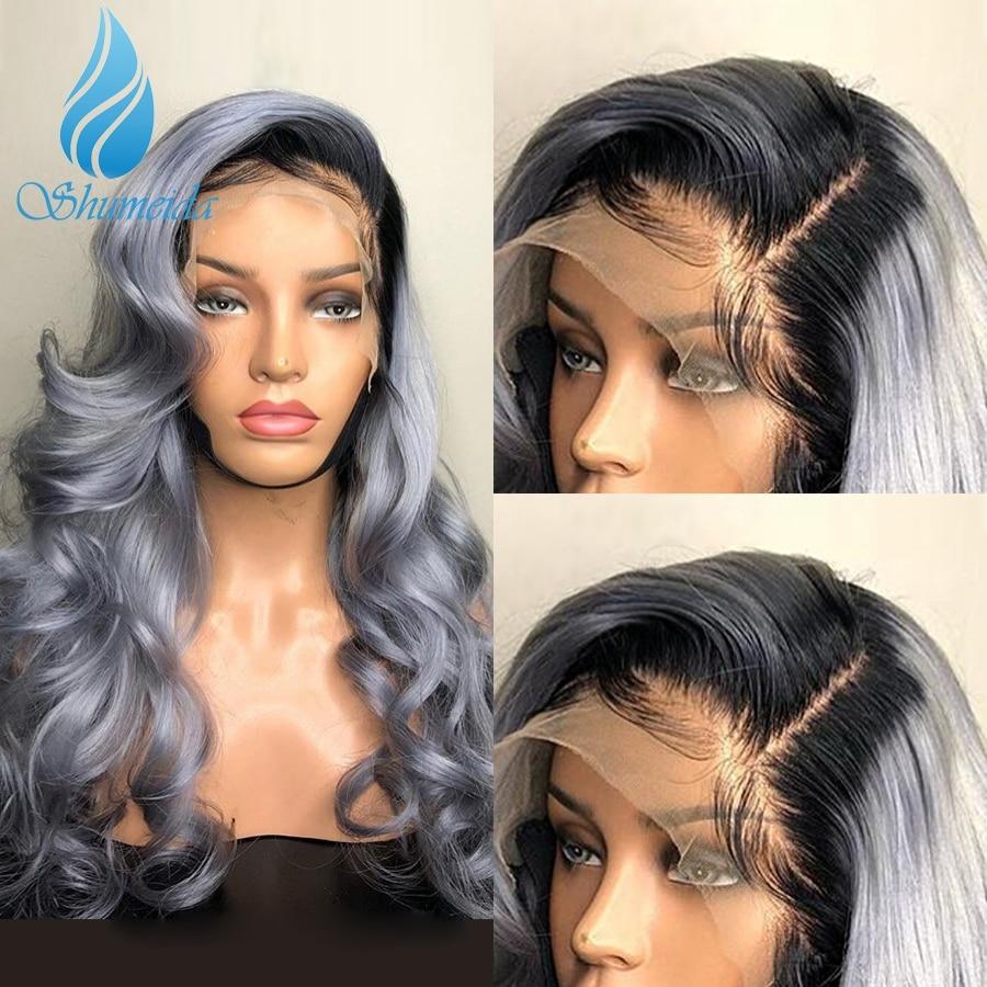 Shd ombre cinza perucas da parte dianteira do laço com pré plucekd relação média perucas de cabelo humano com o cabelo do bebê cabelo brasileiro remy peruca ombre 130%