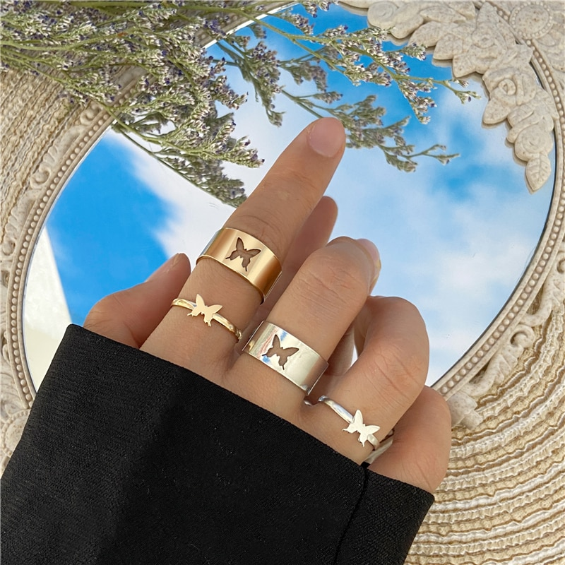 Punk Fashion Butterfly Rings For Women Men Gold Silver Color Lover Couple Butterfly Ring Set Opening Engagement Wedding Jewelry
