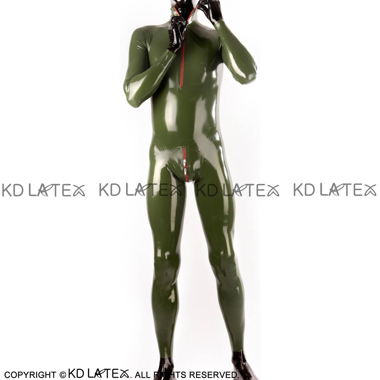Verde do exército sexy látex catsuit com pescoço zíper e virilha zíper de borracha corpo terno bodysuit zentai total mangas compridas LTY-0267