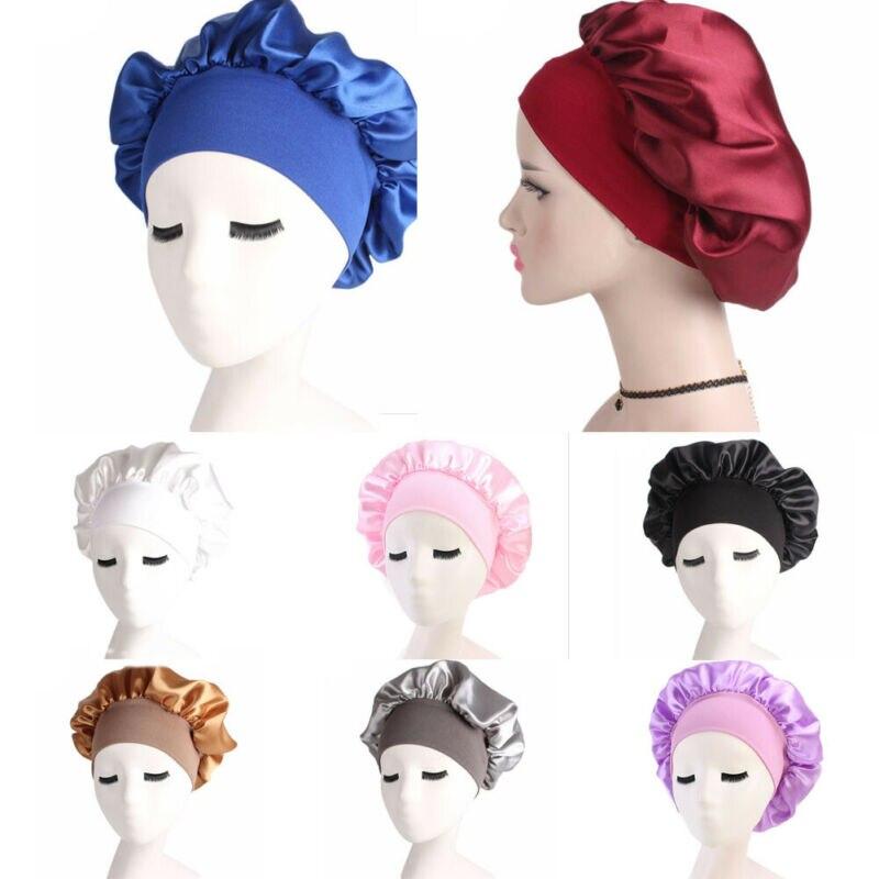 Nueva llegada ajuste sólido mujeres satén Bonnet Cap noche sueño pelo cabeza cubierta Banda ancha elástico sombrero negro blanco azul oro rosa