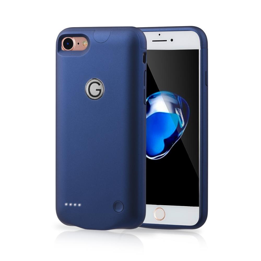 Para o iphone 7/8 7 p/8plus caso carregador de bateria externa power bank capa de carregamento superfície lisa para i telefone 7 8 bateria caso