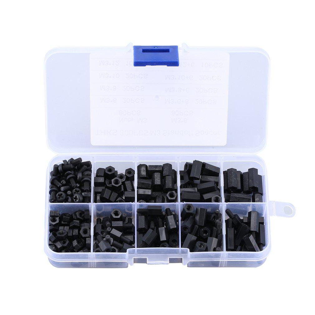 300 Uds negro M3 Nylon separadores tornillo hembra macho tornillos hexagonales tuercas Kits de reparación para electrónica placa base fija