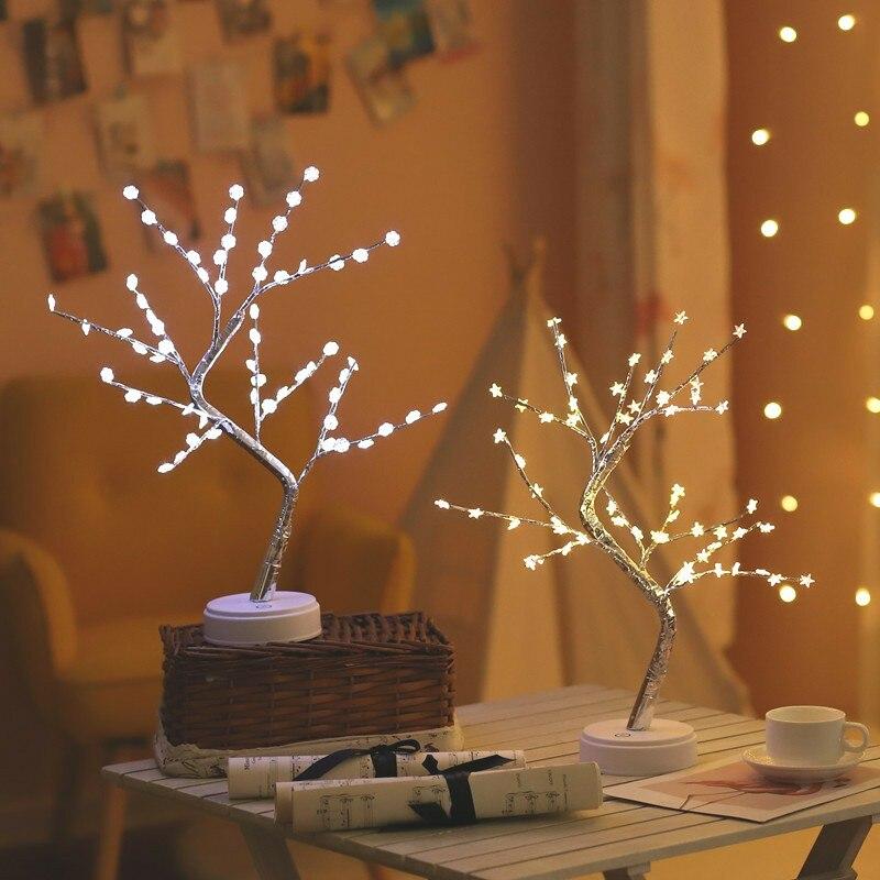 60 LED USB estrella/nieve/Flor árbol de regalo de Navidad noche cobre ligero lámpara de mesa de alambre para fiesta habitación vacaciones Hada Decoración Luz