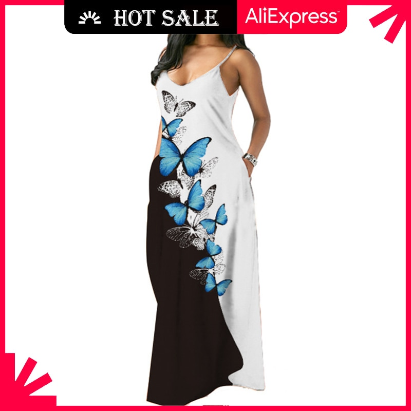 MOVOKAKA Butterfly Printed Sexy Strap Dress 2021 Robe Casual Long Dresses Summer Sundresses Beach Pa