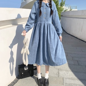 Japanese Style  Doll Collar Long-Sleeved Dress for Women Spring New Preppy Style Loose Slimming Midi Dress lolita dress