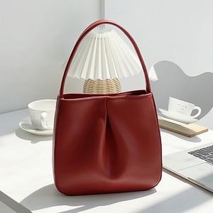 Premium Fold Ladies Hand Collar Bag Retro Women Bucket Bag Niche Design Female Shoulder Bag 2021 Trendy Handbag PU Leather Purse