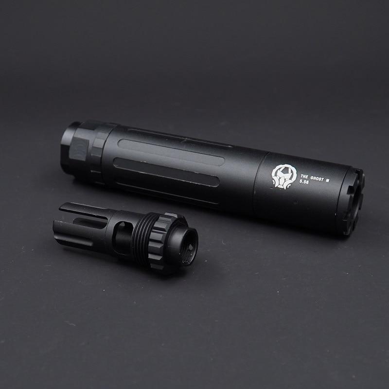 Металлический подавитель Призрака с резьбой против часовой стрелки 14 мм для игрушек, гелевый шарик бластер для страйкбола AEG GBB
