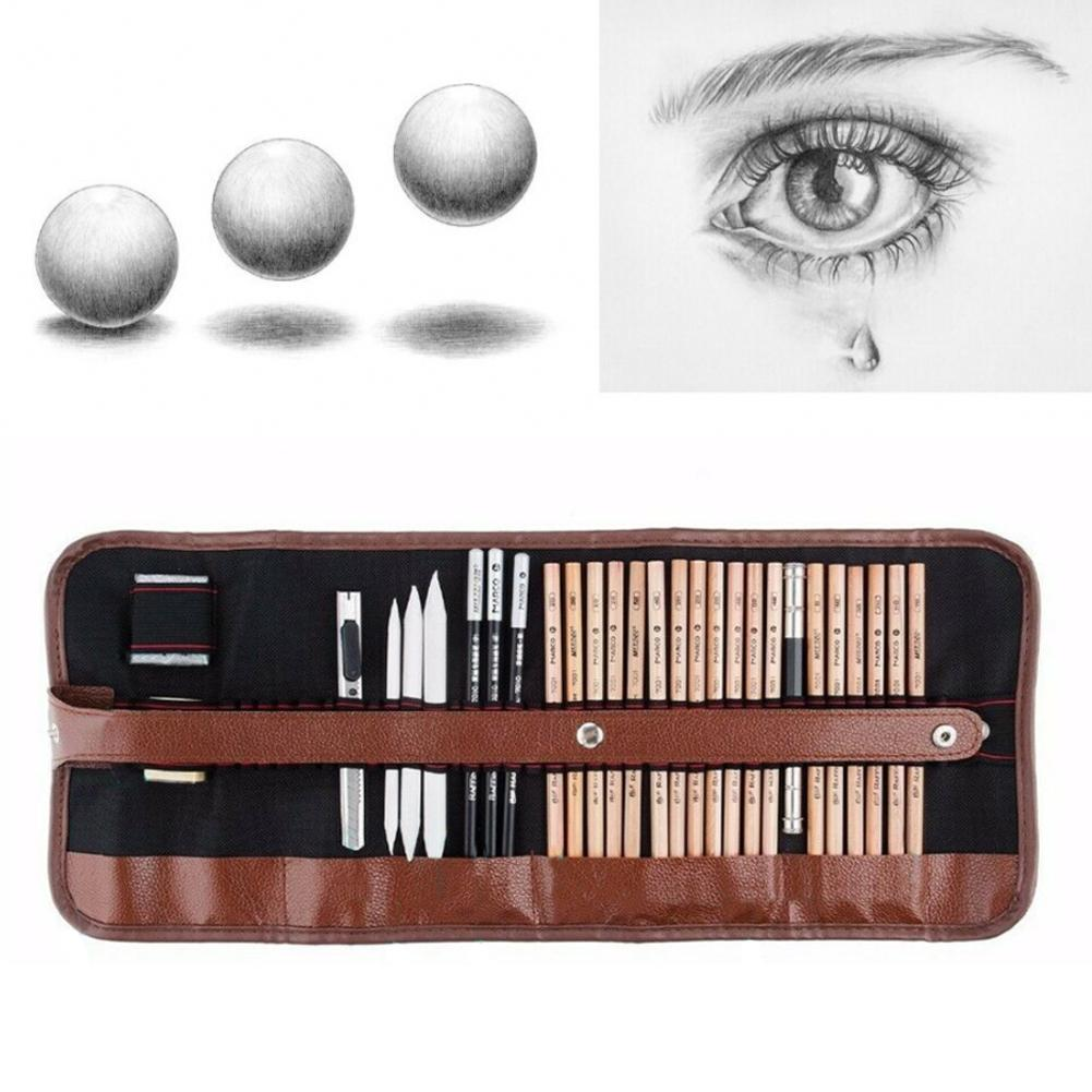 29 Pcs Set Sketch Pencil Professional Sketching Kit to For Apply Students Supplies Painter Wood School Drawing A Z4O6