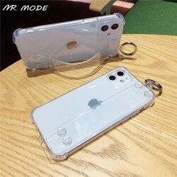 Transparente pulseira de pulso caso do telefone para samsung galaxy a11 a21 a21s a31 a51 a71 a01 m31s m51 suporte macio tpu silicone capa