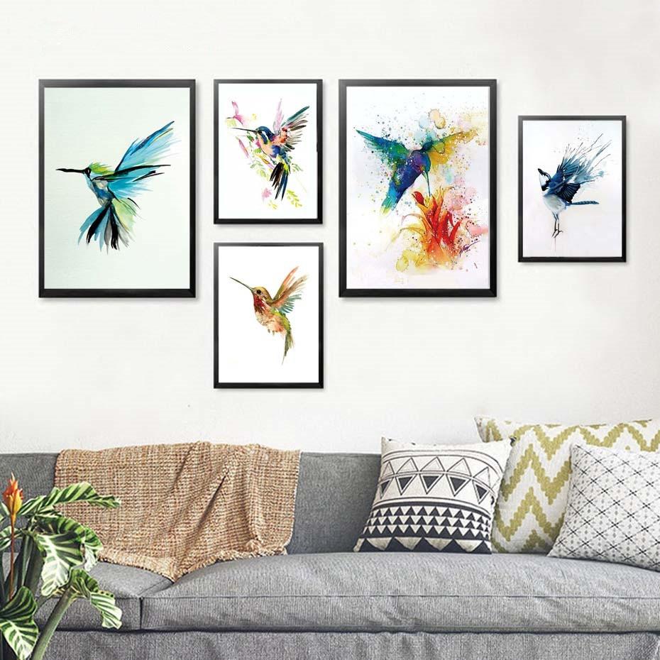Colorido colibrí abstracto que recoge la pared del néctar lienzo con pintura de acuarela imprime cuadros de decoración del hogar sala de estar