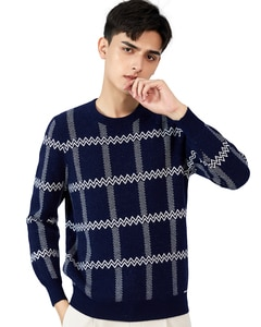 Zhili Men's 100% Cashmere Knit Lattice Crewneck Sweater