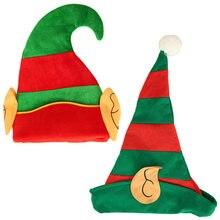 Neue Jahr Weihnachten Elf Hut mit Ohren Kind Erwachsene Kreative Cartoon Rot Grün Gestreiften Festival Party Dekoration Zubehör U3