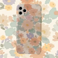 retro art abstract flowers korean phone case for iphone 11 pro max xr x xs max 7 8 puls se 2020 case cute soft silicone cover