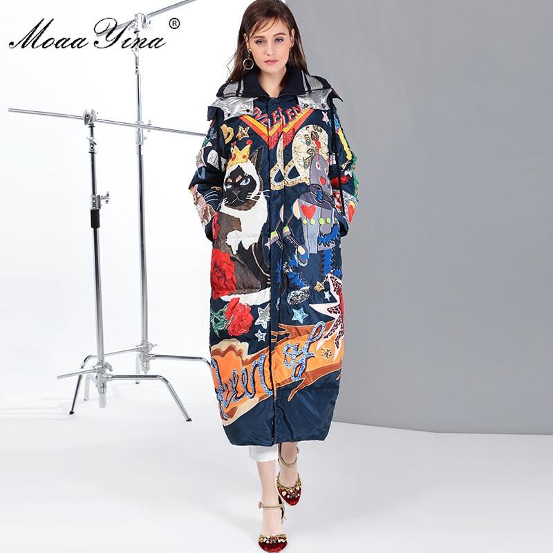 Фото - MoaaYina luxury Runway Cartoon Print Long White Duck Down Jackets Coat Women Fashion Long Sleeve Winter Down Jacket Outwear пуховик long down jkt 1