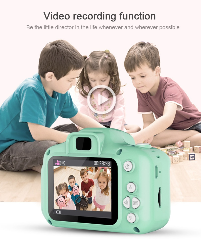 2 Inch Display Screen Children Kids Camera Educational Toys For Baby Gift Mini Digital Camera 1080P Projection Video Camera New