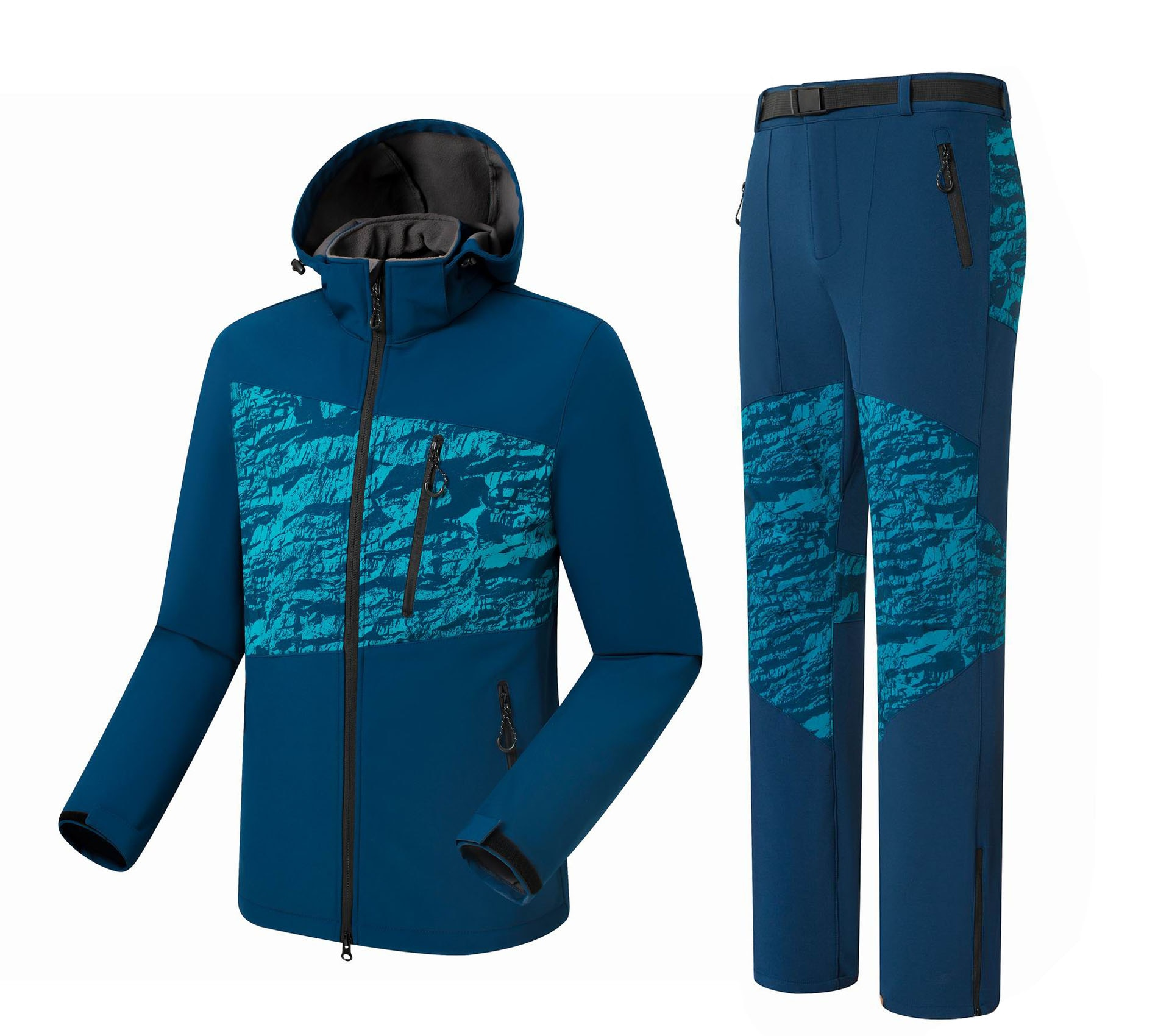 Men Hiking Jacket Pant Softshell Fleece Suit Windproof Water Repellent Outdoor Clothing Sets Mountain Camp