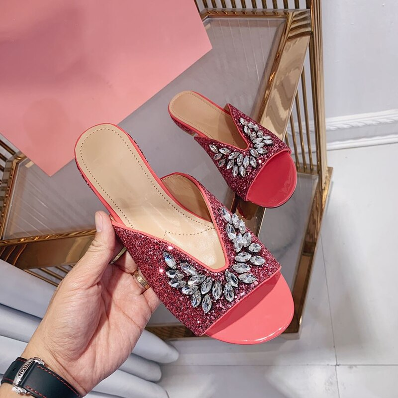 Kmeioo sumemr-صندل نسائي مفتوح من الأمام ، حذاء مفتوح من الأمام ، حذاء نسائي مزين بالكريستال اللامع