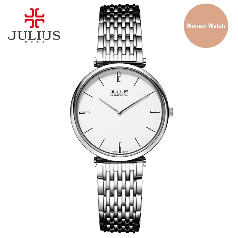 Julius Limited Edition Women Steel Ultra-thin 6.5mm Silver Rose Gold Japan Quartz Movt 30m Waterproof Ladies Dress Watch JAL-032 enlarge