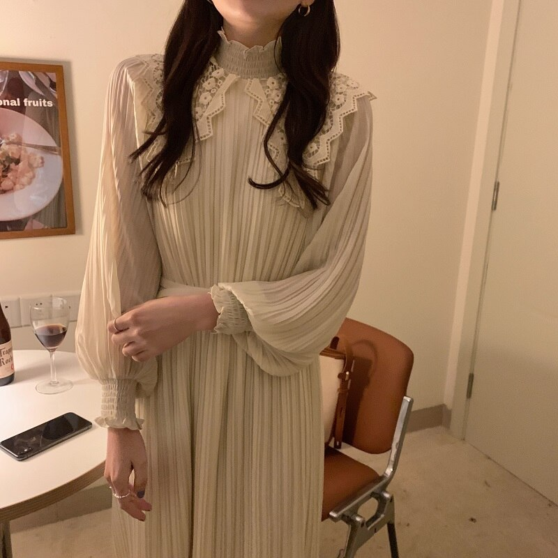 Hda729ffe38fe49cab0c10315ed20cced2 - Spring / Autumn Lace Stand Collar Long Sleeves Pleated Midi Dress with Belt