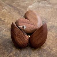 heart shaped wooden ring box 1pcs handmade case for wedding wooden ring case wedding ring holder engagement ring bearer box
