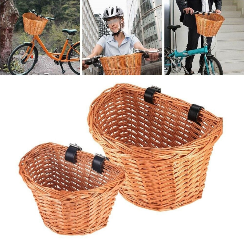 Cesta para bicicleta, cesta para almacenar comida, bicicleta, triciclo para cachorros y gatos, cesta de mimbre de tejido de mimbre hecha a mano