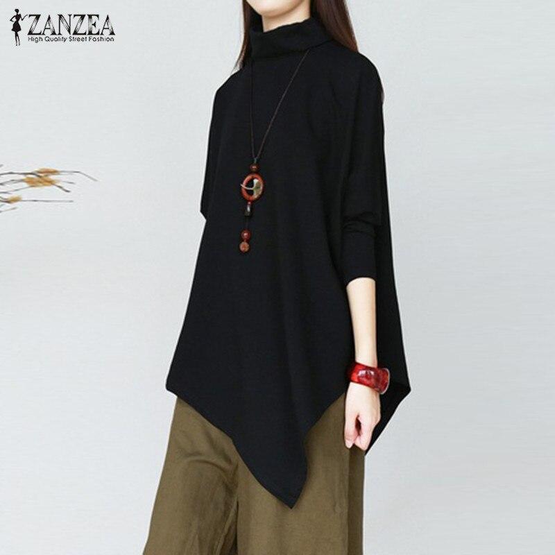 Blusa Irregular de primavera ZANZEA moda camisas sólidas mujeres Casual cuello alto manga larga Blusas túnica Blusas Vestido femenino Chemise