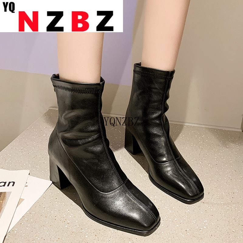 Ankle Boots Women's Autumn 2021 New Square Head Fashion Shoes Short Boots Back Zipper Platform Comfo