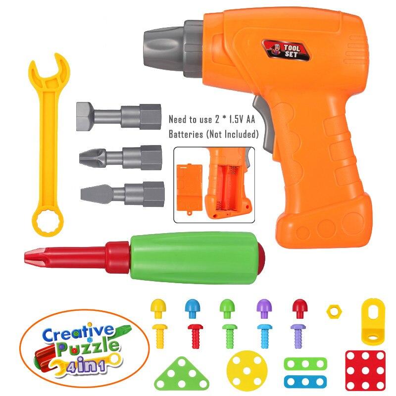 Kids Toy Drill Parts DIY Screw Puzzle Accessories Building Toy ABS Plastic Block Puzzle Simulation Maintenance Tool Children Boy