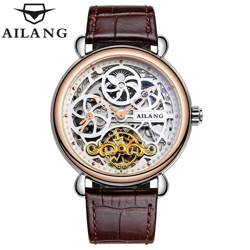 AILANG Fashion Luminous Moon Phase Mens Watches Top Brand Luxury Tourbillon Skeleton Automatic Sapphire Men's Wrist Watch 6815A