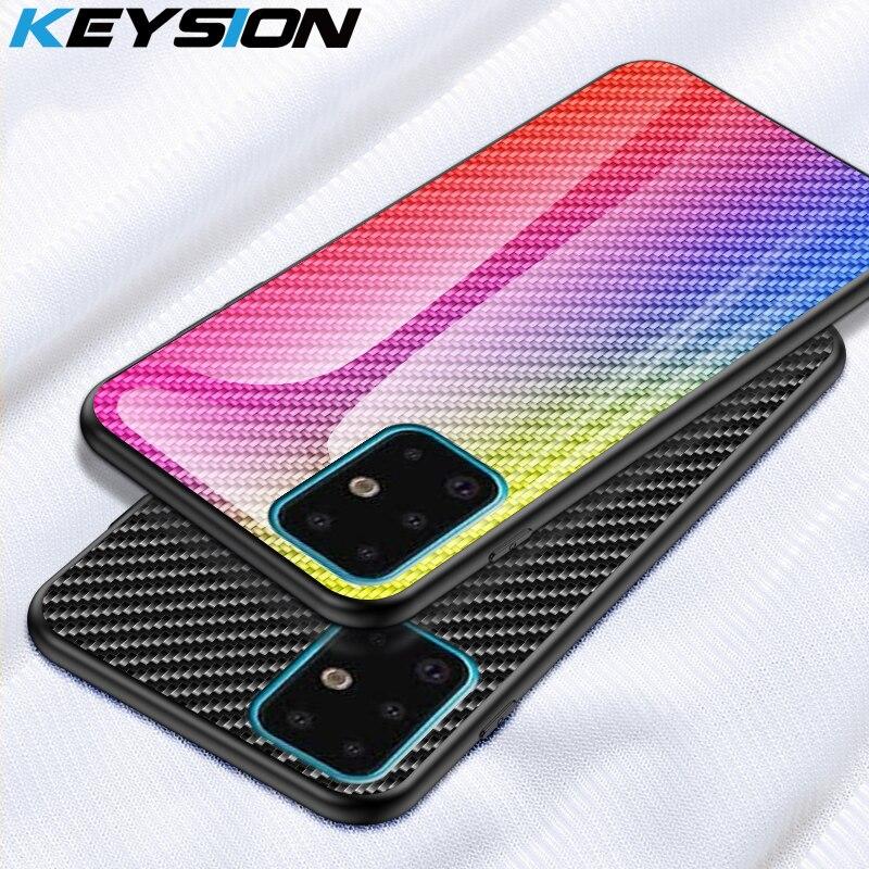 Funda de vidrio KEYSION para Samsung Galaxy S20 Plus S10 S9 Note 10, funda de teléfono de fibra de carbono para Samsung A51 A71 A50S A70 A20 10 M30S