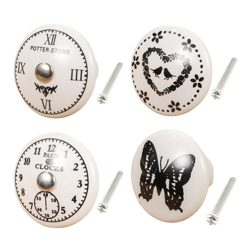 Roman Clock Designed Ceramic Knobs For Cupboard Cabinet Drawer Pulls Hardware Cupboard Wardrobe Closet