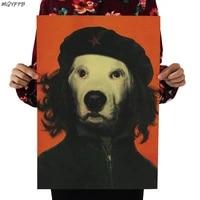 Cheguevara     affiche en papier Kraft retro avec visage danimal de compagnie de celebrite  autocollant mural de decoration de maison