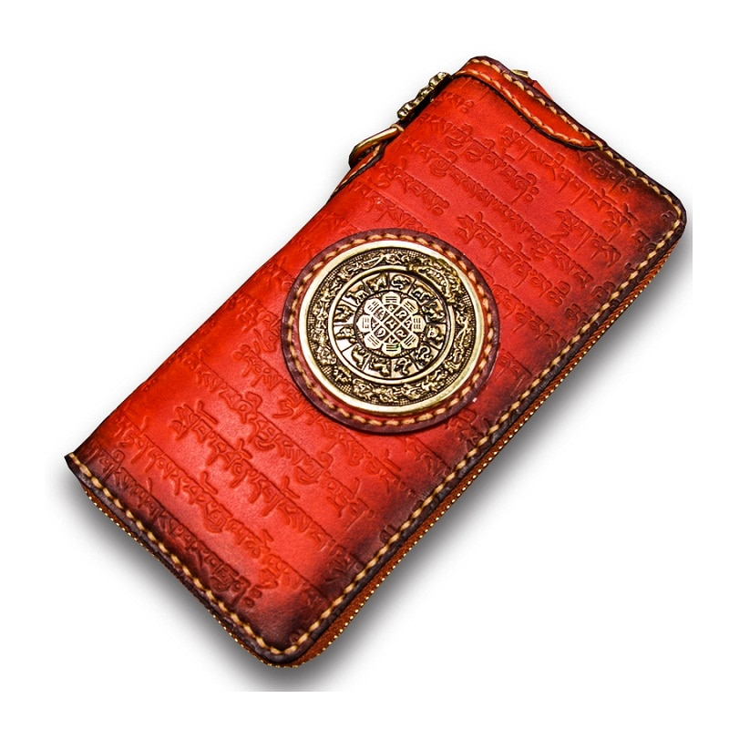 Wallet Carteras Para Jiugong New Mujer Porte Monnaie Tibetan Text Wallets Femme Beef Bone Genuine Leather Women Purse Cartera