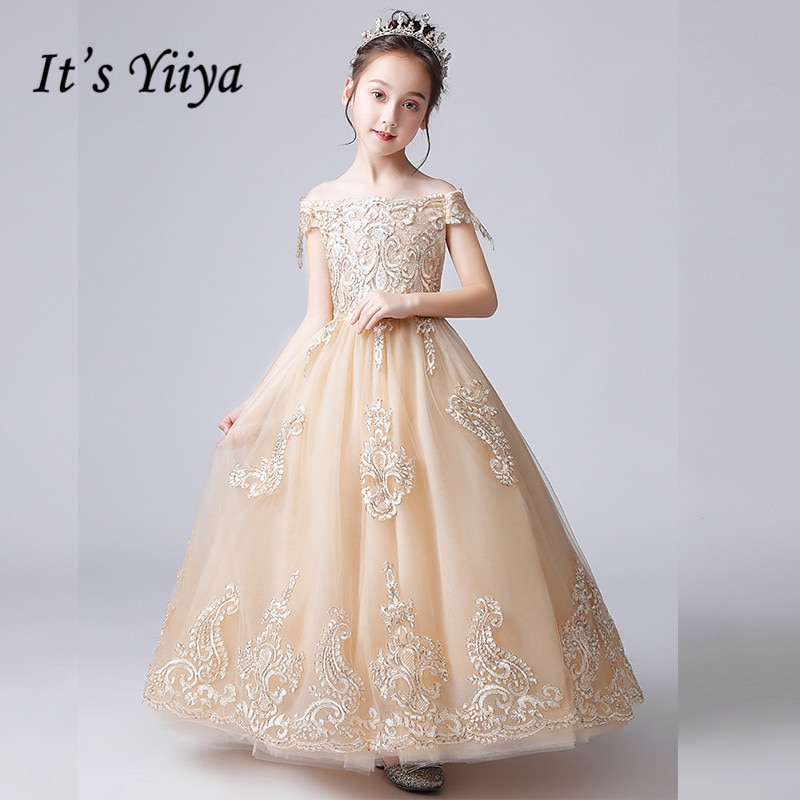 Flower Girl Dresses It's Yiiya B070 Luxury Beading Embroidery Flower Girls Dress Elegant Off Shoulder Long Pageant Gowns drop shoulder flower embroidery tassel tie dress