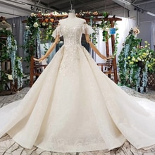 BGW HT41615 라이트 샴페인 웨딩 드레스 Appliques 오프 어깨 웨딩 가운 기차 Vestiti Da Sposa 2019