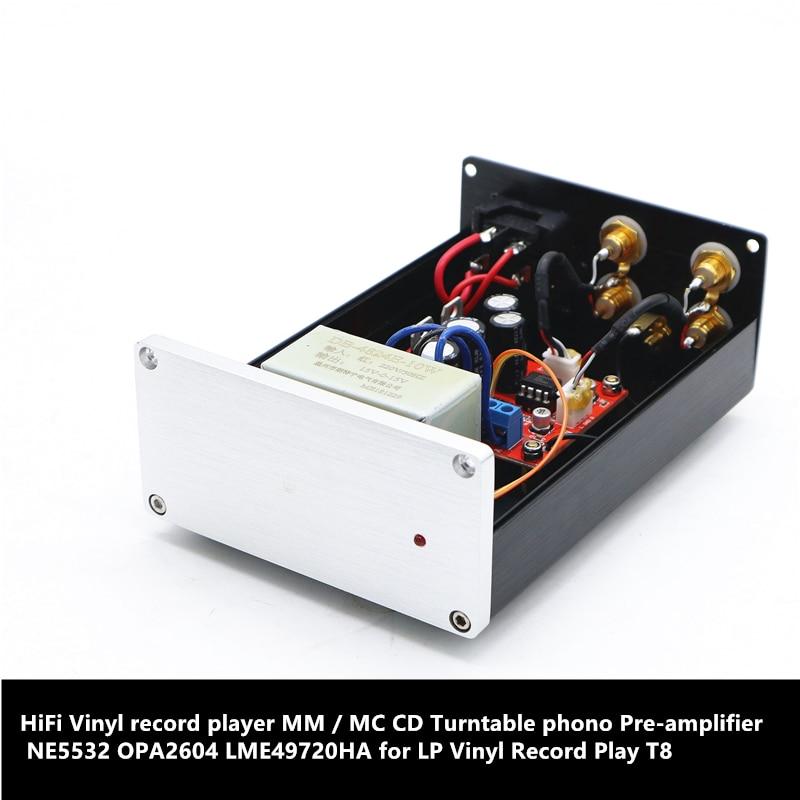 Reprodutor de registro de vinil de alta fidelidade mm/mc cd turntable phono pré-amplificador ne5532 opa2604 lme49720ha para lp vinil record play mm01