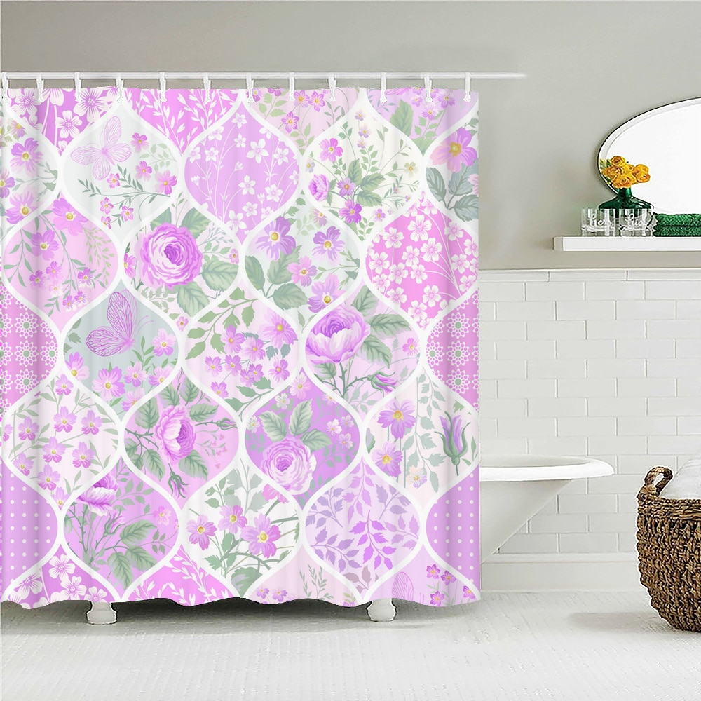 High Quality Flower Fabric Shower Curtain Waterproof Polyester Beautiful Floral Bath Curtains for Ba