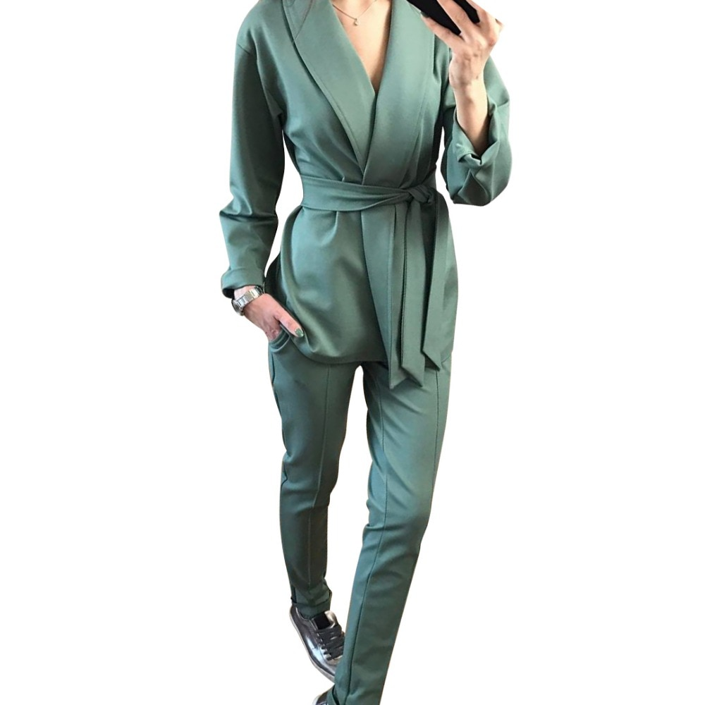 Женский офисный костюм из двух предметов MVGIRLRU, комплект из блейзера с поясом и брюк-карандаш, весенний брючный костюм, 2019