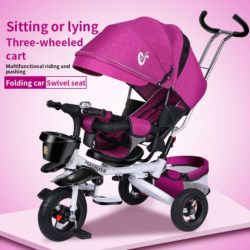 Folding childrens tricycle Multi-functional baby bicycle lie down stroller for 1-3-5 years old