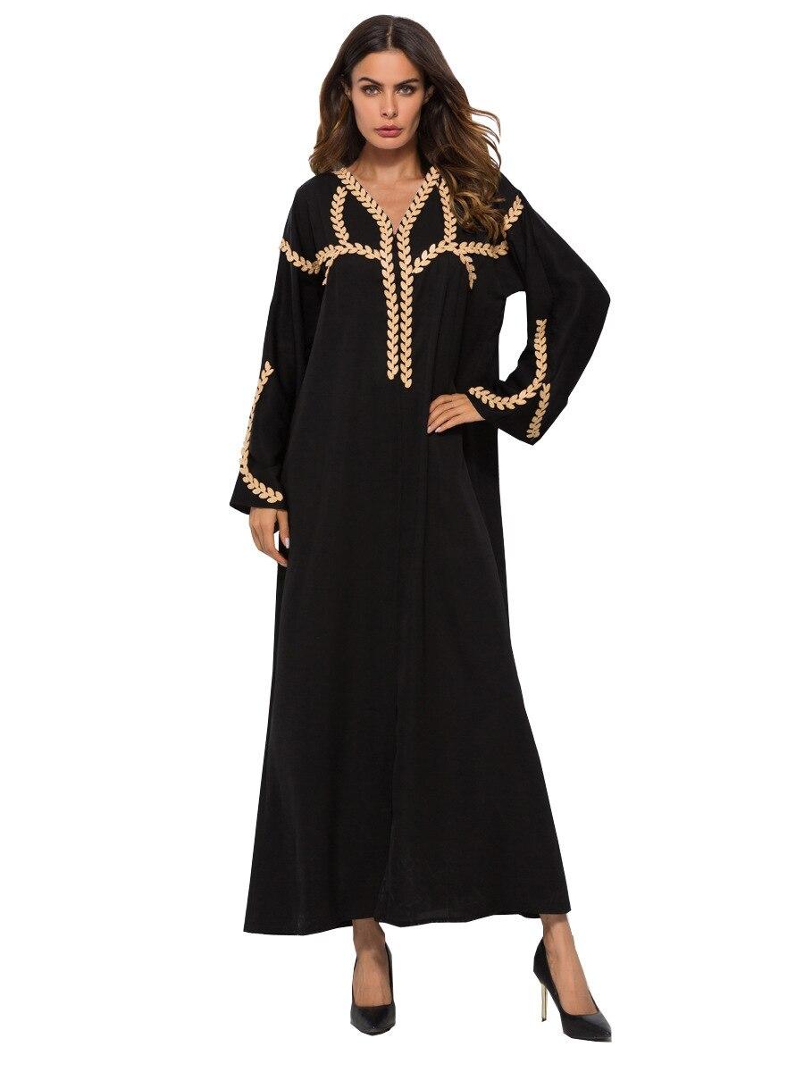 Fiesta apliques Maxi Abaya musulmana vestido largo mujer kaftan marroquí Jubah ropa islámica de la Turquía hiyab árabe vestidos abayas