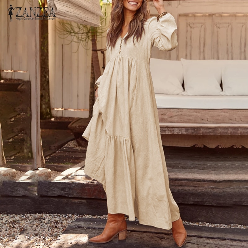 ZANZEA-فستان قميص نسائي بوهيمي ، فستان ماكسي sunzea ، ربيع ، أنيق ، غير رسمي ، ياقة على شكل V ، كشكش ، تونك ، أكمام طويلة ، مجموعة 2021