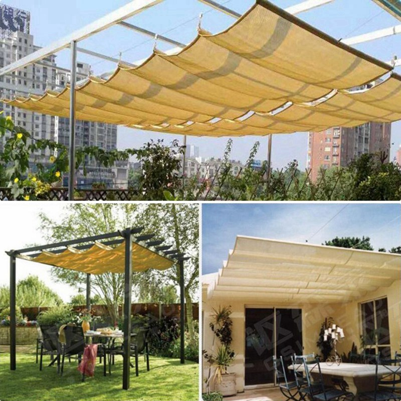 Customize Telescopic Wave Sun Shade Net Courtyard Pavilion Sun Sails Sun Room Canopy Shading Cloth Balcony Terrace Sunshade Nets