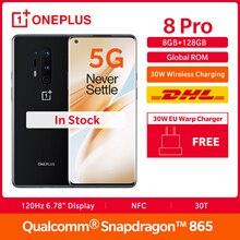 En Stock OnePlus 8 Pro 5G Rom mondial 8GB 128GB Smartphone Snapdragon 865 120Hz affichage 6.78
