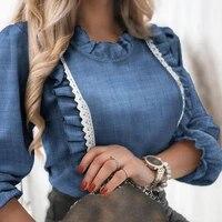 elegant denim blue ruffle blouse shirt autumn winter long sleeve women shirts spring elegant office lady o neck button top