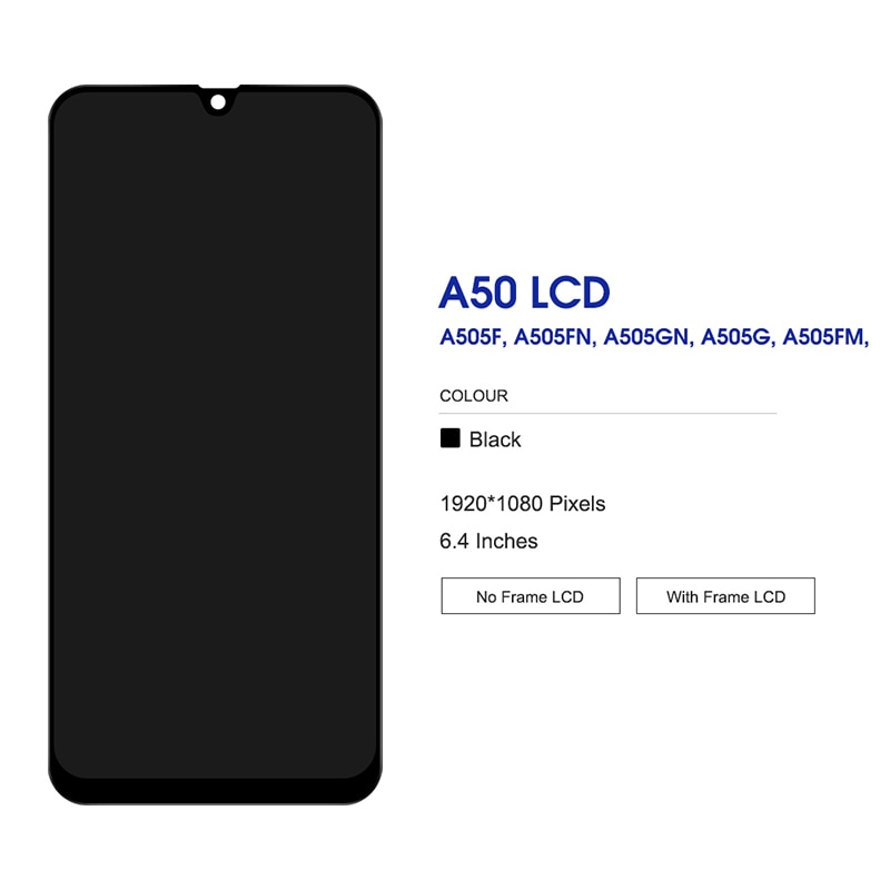 For Samsung Galaxy A30 OLED LCD Display Touch Screen Digitizer With Fingerprint On SM A305F A305 A 30 305F Sm-A305F 100% Test enlarge
